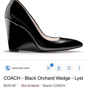 Black leather COACH orchard wedge heel, size 6M